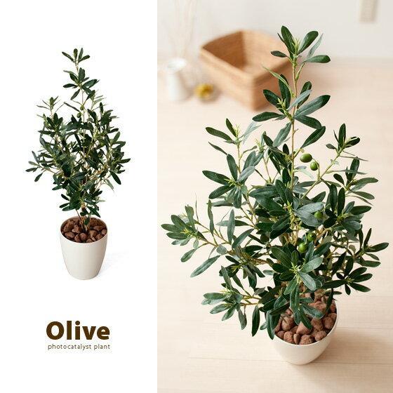 観葉植物 光触媒 人工植物 造花 インテリア 90cm 人工 フェイクグリーン 消臭 防菌 人工観葉植物 オリーブ V-CAT光触媒 光触媒人工植物 オリーブ