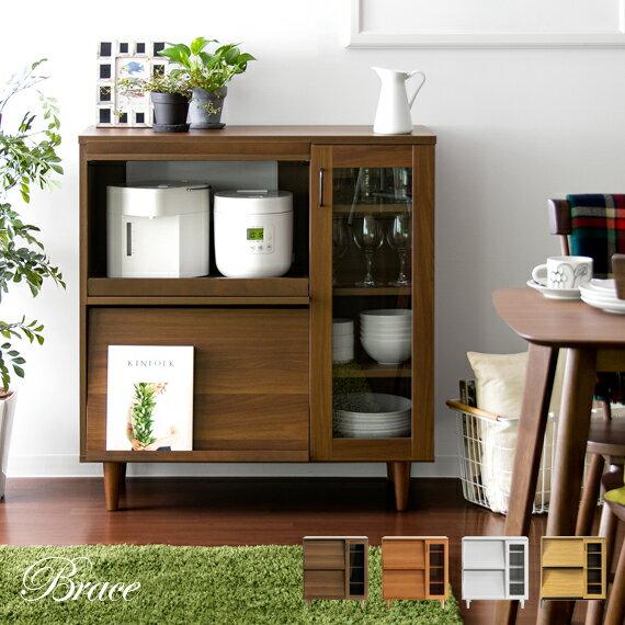 レンジ台 レンジラック 大型レンジ対応 レンジボード 食器棚 キッチンカウンター キッチンボード キッチン収納 家具 木製 北欧 キッチン 棚 キャビネット おしゃれ かわいい レトロ 収納 白 ホワイト Brace Kitchen cabinet
