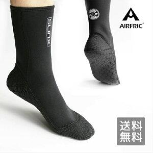 AIRFRIC フィンソックス ダイビングソックス 3mm メンズ レディース 男女兼用 ウェットスーツ素材 防寒保温 滑り止め ネオプレン素材 ダイビング サーフィン シュノーケリング1130-BK