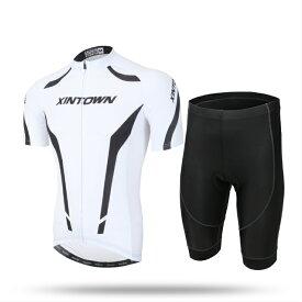 AIRFRIC サイクルジャージ メンズ 夏 半袖 上下セット サイクルウェア 17ss01-WT
