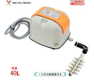 安永 エアーポンプ AP-40P(10方分岐装置付き) 安永エアポンプ 浄化槽 ブロワー 【水槽】 AP-40P AP-40の後継機種【1年保証付】