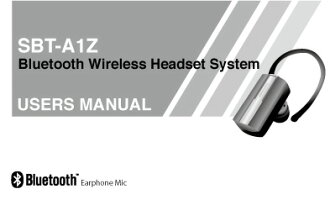 Bluetooth instruction manual SBT-A1Z part Bluetooth earphone microphone instruction manual manual (/ Bluetooth / earphone / microphone for Bluetooth)