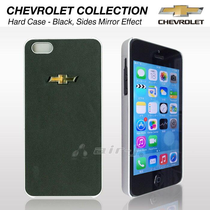 シボレー・公式ライセンス品 iPhoneSE iphone5s iphone5 PUレザー 背面 ケース GM ブランド カバー ケース [ Hard Case Black sides mirror effect for iPhone] アイフォン5ケース アイフォン5sケース 全面 ブラック で かっこいい あす楽