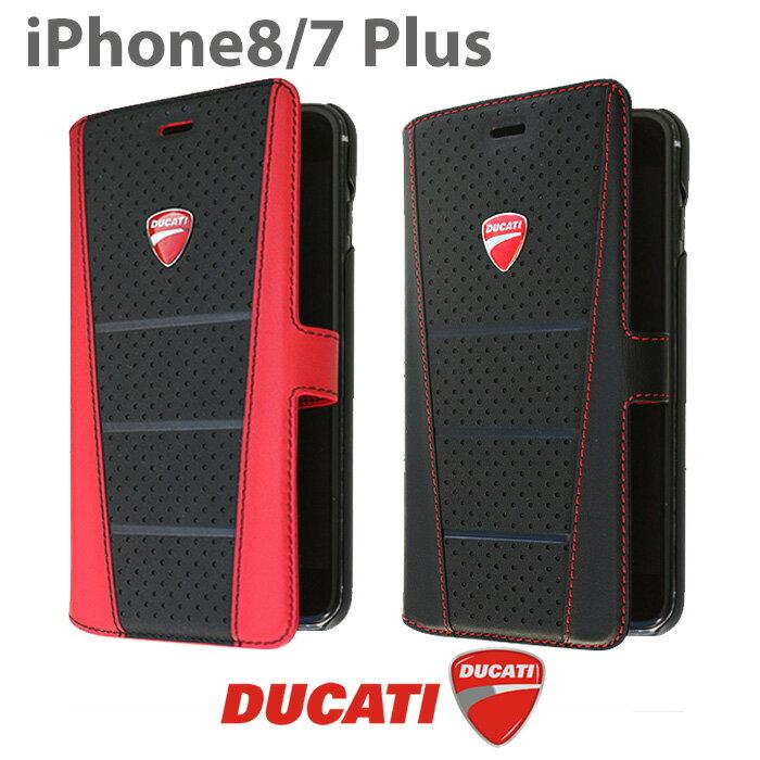 DUCATI ドゥカティ 公式ライセンス品 iPhone8Plus iPhone7Plus 手帳型ケース 本革 アイフォン7プラス アイフォン8プラス レザー ブラック レッド シンプル ブランド カード収納 ドゥカティのロゴがかっこいい アイフォンケース カバー【送料無料】