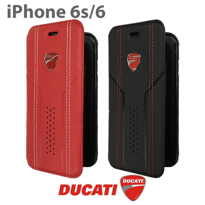 DUCATI・公式ライセンス品 iPhone6 iPhone6sケース 手帳型 アイフォン6ケース レザー調 ブックタイプ フリップ アイフォン6 アイフォン6sケース ブラック シンプル ブランド カード収納 カードホルダー カードケース アイフォンケース アイフォンカバー【送料無料】
