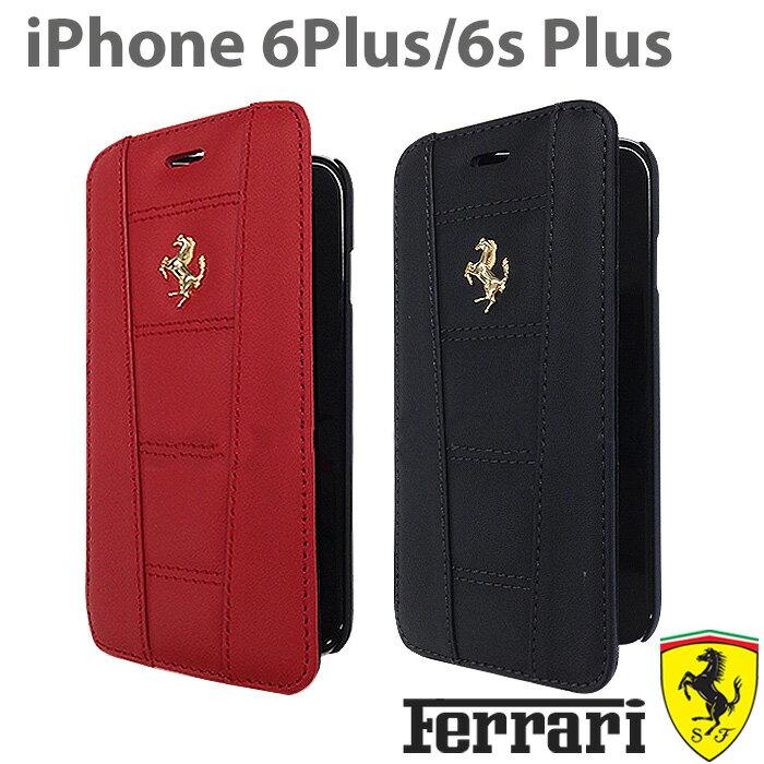 フェラーリ・公式ライセンス品 iPhone 6 plus iPhone6sPlus ケース 手帳型 本革 アイフォン6sプラス アイフォン6プラスケース iPhoneケース メンズ 男性 ビジネス シンプル iPhone6sPlusケース ブランド ブックタイプ [458 Real Leather] FE458GFLBKP6l/5.5inch