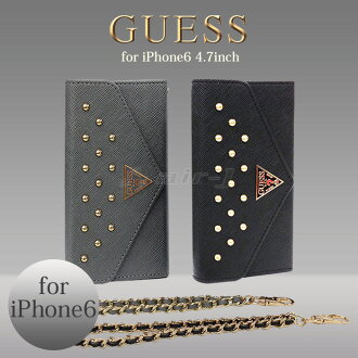 GUESS ( guess )-official licensed products iPhone6 4.7 inch leather pocketbook type ( BookType ) case clutch case brand cover leather case [Studded Clutch Case for iPhone6, watermelon Pasmo IC card holder