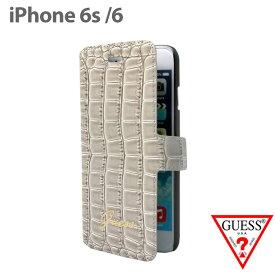 0010c0d055 【SALE】GUESS・公式ライセンス品 iPhone6s iPhone6ケース 手帳型【 クロコ調が上品な アイフォン6ケース ブックタイプ  レディース ブランド シンプル ホワイト 可愛い ...
