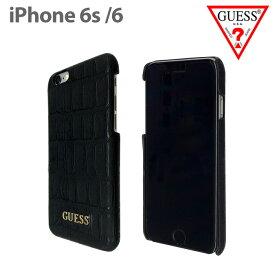 【SALE】GUESS・公式ライセンス品 iPhone6s 6ケース ハードケース クロコ調が上品な アイフォン6ケース ハードケース バックカバー レディース ブランド シンプル ジャケット PUレザー おしゃれ 上品 ロゴ スマホケース 黒 ブラック iPhone6【送料無料】