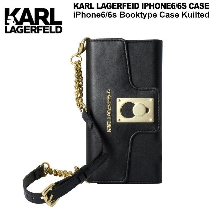 【SALE】KARL・公式ライセンス品 iPhone6s 6ケース クラッチ 手帳型 【高級感溢れるバッグ型のアイフォン6 6sケース ブラック キルト レディース ブランド シンプル ブックタイプ 上品 】送料無料 KARL LAGERFELD (カールラガーフェルド)