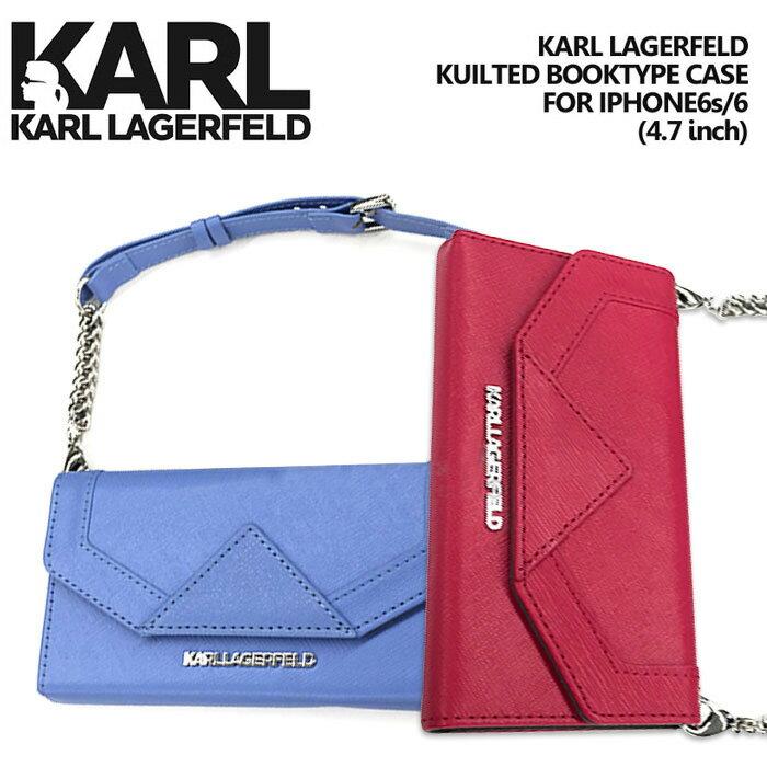 【SALE】KARL・公式ライセンス品 iPhone6s 6ケース クラッチ 手帳型 【使い勝手の良いバッグ型のアイフォン6 6sケース ブラック レディース ブランド シンプル ブックタイプ 上品 】送料無料 KARL LAGERFELD (カールラガーフェルド)