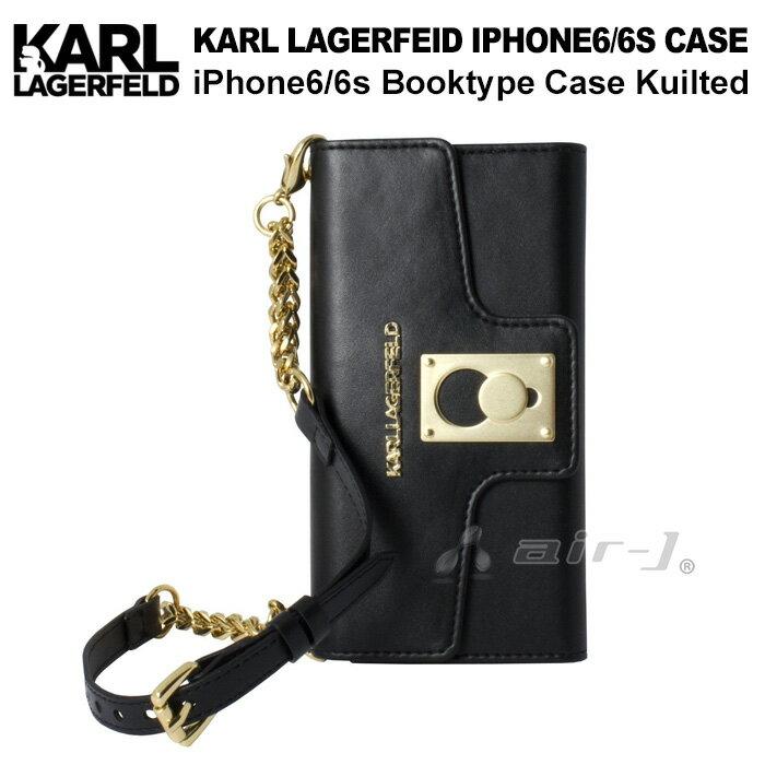 KARL・公式ライセンス品 iPhone6s 6ケース クラッチ 手帳型 【高級感溢れるバッグ型のアイフォン6 6sケース ブラック キルト レディース ブランド シンプル ブックタイプ 上品 】送料無料 KARL LAGERFELD (カールラガーフェルド)