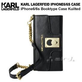 3cdc80afe5 KARL・公式ライセンス品 iPhone6s 6ケース クラッチ 手帳型 【高級感溢れるバッグ型のアイフォン6 6sケース ブラック キルト レディース  ブランド シンプル ブック ...
