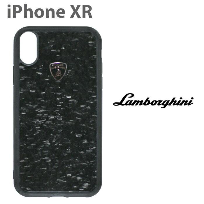 ランボルギーニ・公式ライセンス品 iPhone XR ハードケース 【 アイフォン XR ケース スマホケース リアルカーボン バックカバー Lamborghini シンプル かっこいい メンズ カーブランド ブランド ビジネス ブラック 】【送料無料】