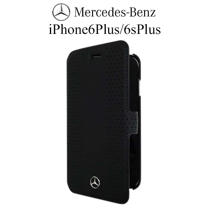 メルセデス・ベンツ 公式ライセンス品 iPhone 6 plus iPhone6sPlus ケース 手帳型 【 本革 が上品な アイフォン 6sプラス 6プラスケース レザー ブックタイプ iPhoneケース スマホケース かっこいい メンズ シンプル ブランド ロゴ ブラック 】Mercedes Benz 送料無料