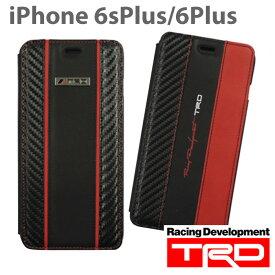 【SALE】TRD 公式ライセンス品 iPhone6sPlus iPhone6Plus (5.5inch) 専用 手帳型ケース カード収納 本革 カーボン調 カバー ブックタイプ サーキット 車 かっこいい 男性向け TOYOTA トヨタ TOYOTA 送料無料 あす楽対応 アイフォン6プラス