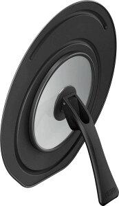 折りたたみスタンド式フライパンフタ 20cm・24cm対応 ブラック(BK) KLC-001【THERMOS 蓋 鍋蓋 立つ スタンド カバー 兼用】