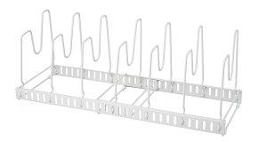 ファビエ 伸縮式 フライパン & 鍋ブタスタンド ホワイト【仕切りの間隔を調整してすっきり片付く】