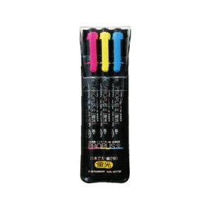三菱鉛筆 蛍光ペン プロパス 2 太字+細字 3色セット PUS101TN3C