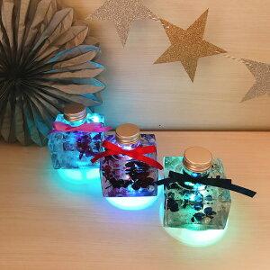 【ポイント5倍】ハーバリウム ギフト プレゼント アジサイ LEDライト付き 完成品 プリザーブドフラワー インテリア 雑貨 おしゃれ 贈り物 イニシャルタグ付き