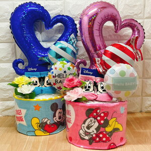 おむつケーキ ディズニー 出産祝い 男の子 女の子 オムツケーキ ミッキー ミニー ドナルド デイジー プリンセス ギフト パンパース 誕生日 百日 ハーフバースデー 初誕生 お祝い イニシャル