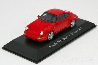 """Spark 1/43 Porsche 911 (964) Carrera 4 """"30 Jahre 911"""" 1993 red Porsche museum special order 200-limited"""