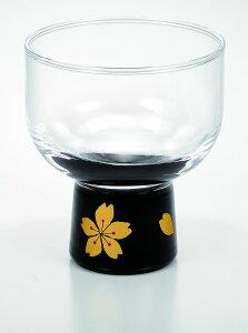 会津塗 漆芸ガラス 漆芸グラスぐい呑み 桜 黒《酒器として 小鉢として 海外向けギフト 記念品にもマイグラスにも最適好評ラッピング可 箱入りです。》