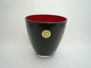 会津塗 漆芸ガラス 漆芸グラスフリーグラス 黒内朱《テーブルに華を添える器として 海外向けギフト記念品にもマイグラスにも最適好評ラッピング可 箱入りです。》