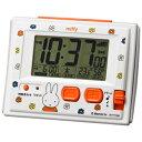 リズム時計【ミッフィー R126 電波デジタル 温湿度計付 目覚まし時計】環境目安表示付 白 8RZ126MM03【楽ギフ_包…