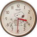 ●リズム時計★スヌーピークロック【スヌーピー M40 PEANUTS】掛時計 茶色 8MGA40-M...
