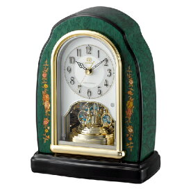 ■リズム時計 イタリア製象嵌細工 電波置時計【RHG-S41 緑象嵌仕上げ】木枠 回転飾り 4RY678HG05 [代引不可]【楽ギフ_包装選択】.