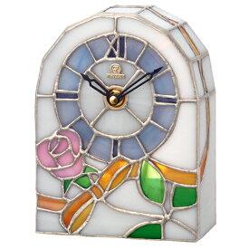 ■リズム時計 JAPAN MADE クオーツ置時計【RHG-S80 ステンドグラス バラ柄】4SG795HG03 [代引不可]【楽ギフ_包装選択】.