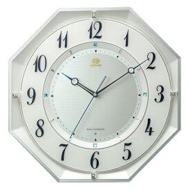 ■リズム時計 電波掛時計【RHG-M119】連続秒針 八角形 白パール色 8MY559HG03【楽ギフ_包装選択】
