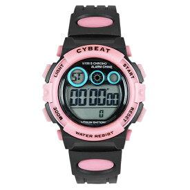 ■サンフレイム CYBEAT【デジタルウォッチ 腕時計 7色LEDライト】ブラック×ピンク ACY17-BPI【楽ギフ_包装選択】