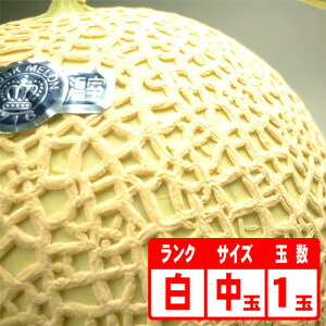 【送料無料】静岡産クラウンメロン1玉「白」 中玉
