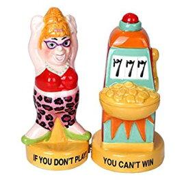 【中古】【輸入品・未使用】Lucky Casino Slot Machine Winner Ceramic Magnetic Salt and Pepper Shaker Set