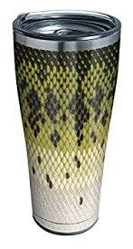 【中古】【輸入品・未使用】Tervis Largemouth Bass パターン 断熱トラベルタンブラー 蓋付き 30オンス ステンレススチール シルバー