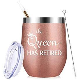 【中古】【輸入品・未使用】Retirement Gifts 女性用 The Queen Has Retired 12オンス ステンレススチール ワインタンブラー 蓋とストロー付き 女性への楽しい退職ギフト