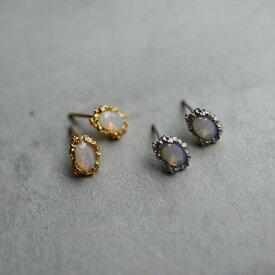ピアス silver925 シンプル  ゴールド シルバー ミニピアス オーバル オパール 天然石 石 メンズライク ギフト プレゼント おしゃれ 女性 レディース オフィス ajiro P083