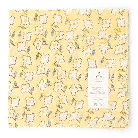 admi(アドゥミ) バンダナ Picnic 01 (イエロー) 60×60cm 大判 ハンカチ コットン インド綿 木版プリント プレゼント ギフト レディース おしゃれ かわいい