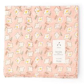 admi(アドゥミ) バンダナ Picnic 02 (ピンク) 60×60cm 大判 ハンカチ コットン インド綿 木版プリント プレゼント ギフト レディース おしゃれ かわいい