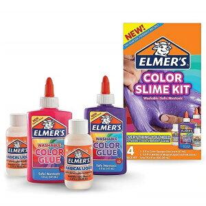 スライム作りが簡単に♪ Elmer's(エルマーズ) カラー スライム キット パープル,ピンク 各147mL(オンス)マジカルリキッド 2本付き エルマーズグルー/液体のり/セット/マジックリキッド