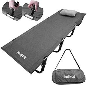 Kalkal キャンプコット 最新版 組み立て簡単 軽量2.5kg 耐荷重150kgローコット アウトドア用折りたたみ式ベッド 収納バッグ付き