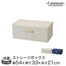 [25mm] [19mm] 収納ボックス フタ付き 引き出し ルミナス パーツ ラック内収納ボックス 幅54×奥行33×高さ21cm LSB5433(アイボリー/ネイビー) メタル製ラック アルミラック