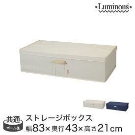 [25mm] [19mm] 収納ボックス フタ付き 引き出し ルミナス パーツ ラック内収納ボックス 幅83×奥行43×高さ21cm LSB8343(アイボリー/ネイビー) メタル製ラック アルミラック