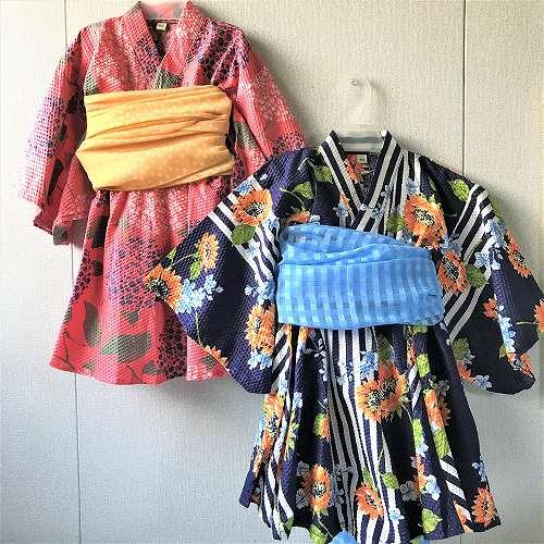 Ocean&Ground オーシャンアンドグラウンド 浴衣ワンピース HIMAWARI&AJISAI ひまわり&紫陽花 子供用浴衣ワンピース 花柄浴衣 女の子用浴衣 綿100% メール便無料