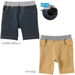 ミキハウス(おすすめ)mikihouse(Everydayシリーズ)デニム風6分丈ストレッチパンツ(70cm、80cm、90cm、100cm、110cm、120cm、130cm)