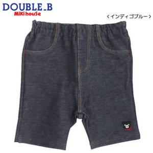 ダブルB(DOUBLE.B)mikihouse Everydayストレッチニットデニム(ワンポイント)6分丈パンツ(70cm、80cm、90cm、100cm、110cm、120cm)