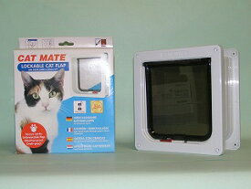 安心のPET-MATE正規品キャットフラップR234(白)普通猫用、取付け易い両面取付。