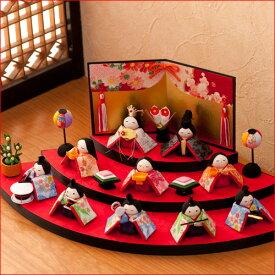 【送料無料】雛人形 コンパクト ひな人形 ちりめん 小さい ミニオリジナル 扇面三段わらべ雛10人揃い お雛様 ひな祭り『龍虎堂』リュウコドウ